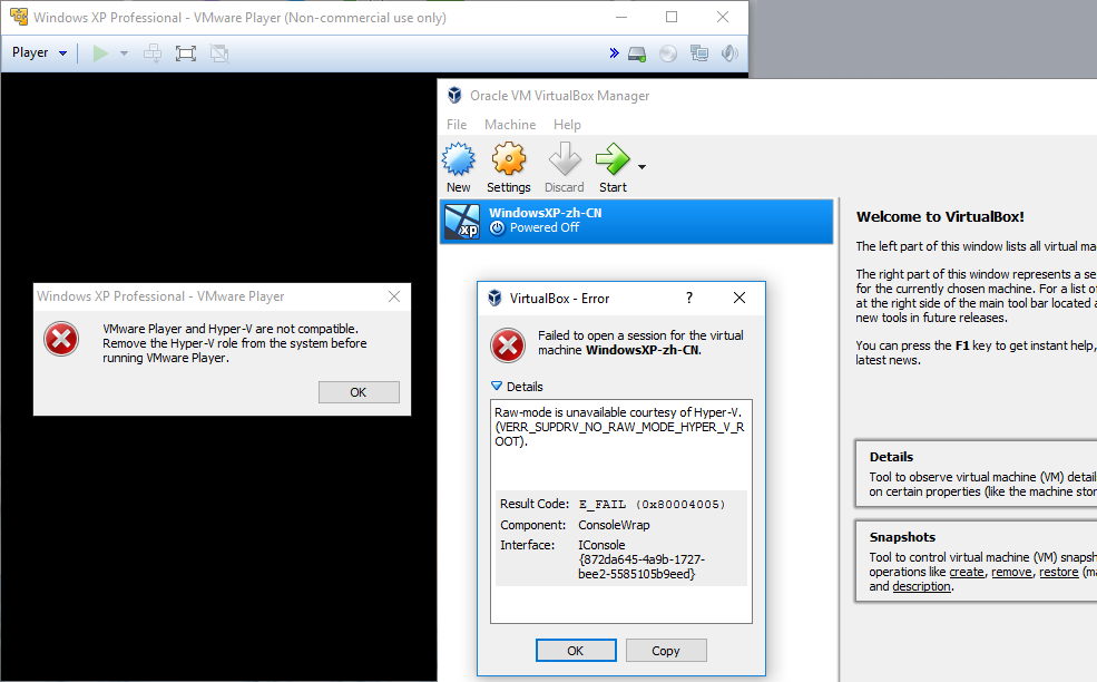 Hyper-V conflict with VMware and VirtualBox